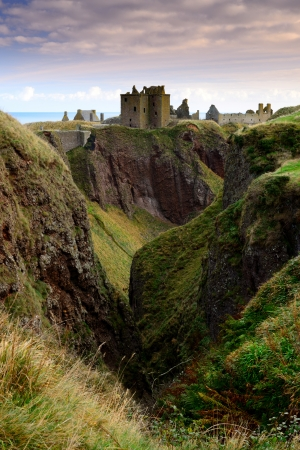 Dunnottar Castle on the cliff in Aberdeen, Scotland