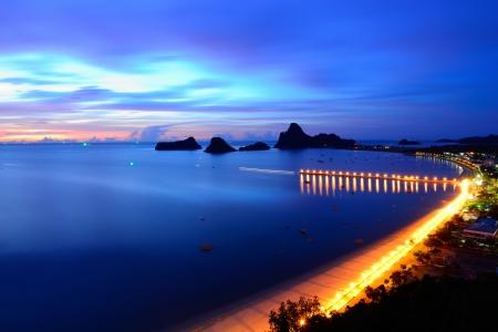 ao: landscape sunrise view of Ao Manao bay in Prachuap Khiri Khan, Thailand Stock Photo