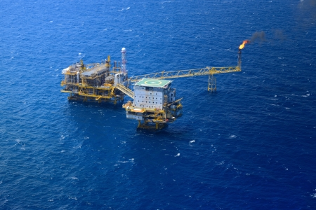 helideck: Top view offshore oil rig platform