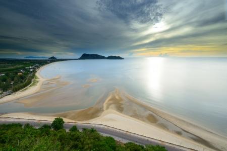 ao: landscape sunrise view of Ao Manao beach in Prachuap Khiri Khan, Thailand Stock Photo