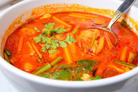 Thai Food name Tom Yum Goong is Thai hot and spicy soup seafood with shrimp photo