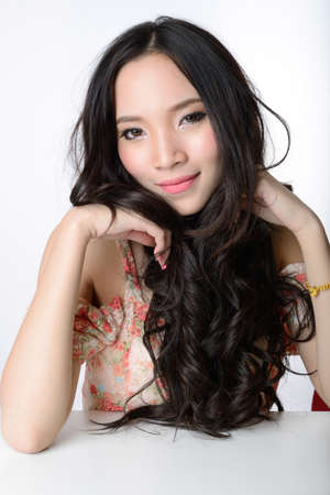 portrait of beautiful smiling healthy asian long hair woman Stock Photo