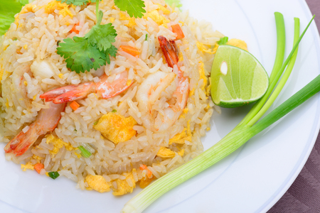 Thai food name fried rice with shrimp Stock Photo