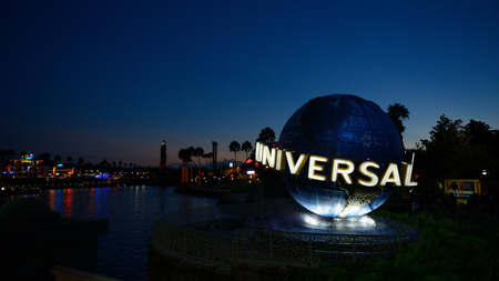 ORLANDO,USA - OCTOBER 2, 2014 : The famous Universal Globe at Universal Studios Florida theme park
