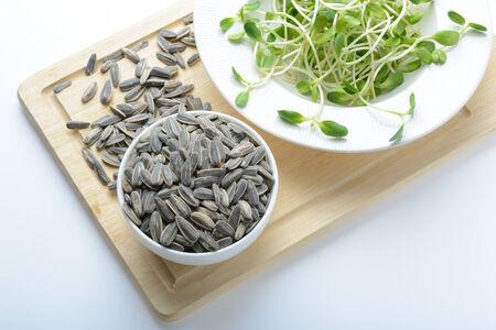plato de ensalada: verde j�venes brotes de girasol en la placa de ensalada y semillas de girasol en el fondo blanco Foto de archivo