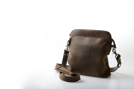satchel: old Leather satchel bag on white background Stock Photo