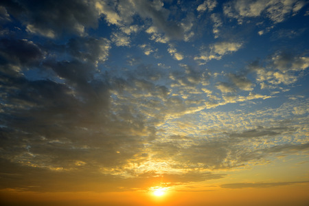blue gradient: beautiful sunrise sky with cloud Stock Photo