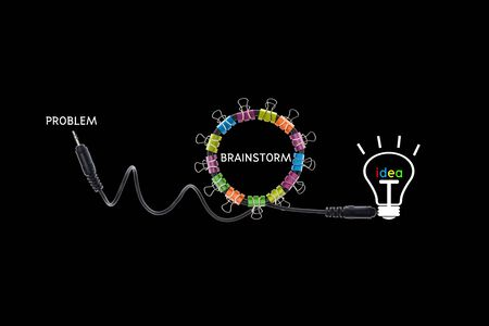 Brainstorm concept creative modern design on black background,business concept