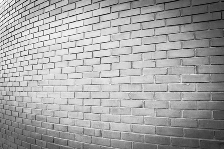 perspective white brick wall texture background Standard-Bild