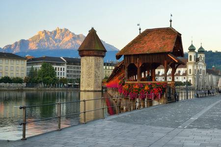 Historic city center of Lucerne with famous Chapel Bridge (Kapellbrucke) ,baroque Jesuit Church St Franz Xaver and lake Lucerne (Vierwaldstatersee), Canton of Lucerne, Switzerland in summer