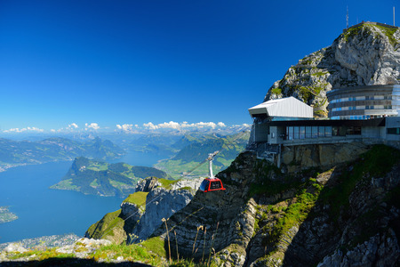 Cable car approach to the top of Pilatus mountain from Luzern, Switzerland in summer Editorial