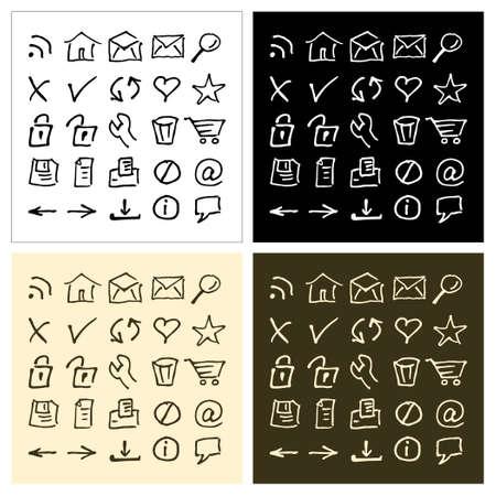 Sketch web icons set in 4 color Vector