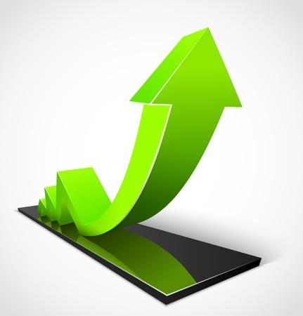 profit and loss: Freccia verde di business grafici