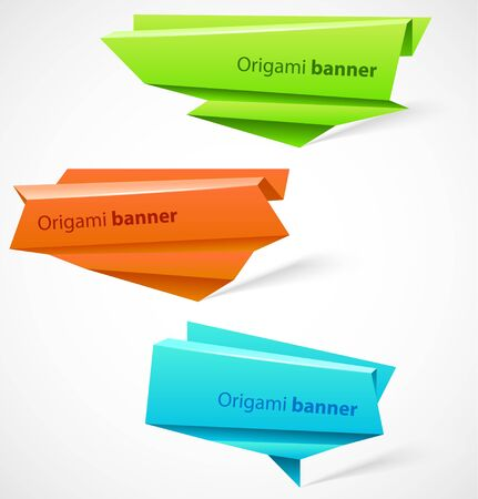 Set of origami banners Vector