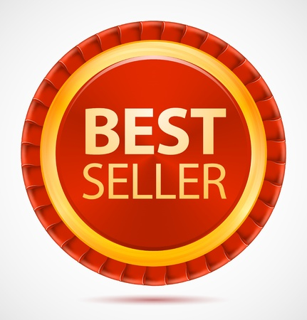 seller: Best seller, red label, vector Illustration