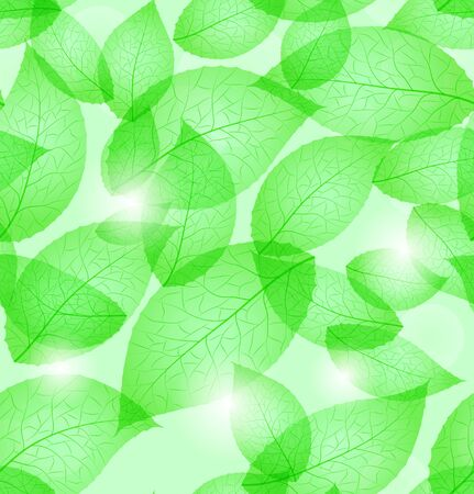 Fresh green leaves background seamless pattern Vector