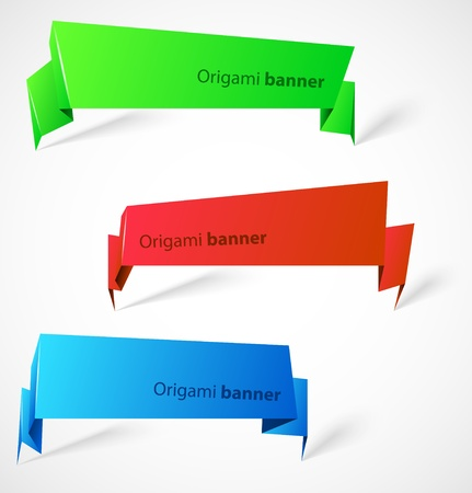 Set of origami banners