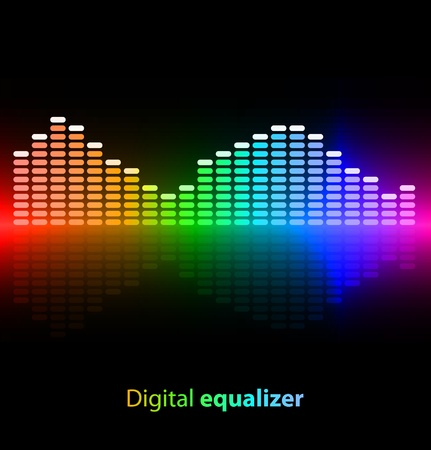 equalizer: Colorful digital equalizer on black background
