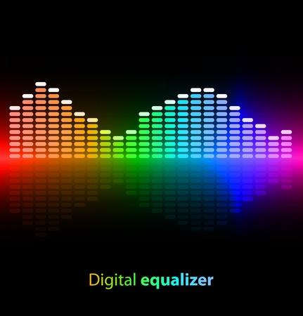musica electronica: Ecualizador digital de colores sobre fondo negro Vectores