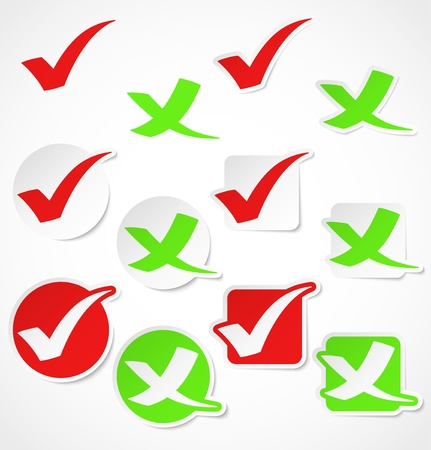 green tick: Vector check mark stickers Illustration