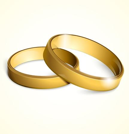 marriage ceremony: Vector golden wedding rings Illustration