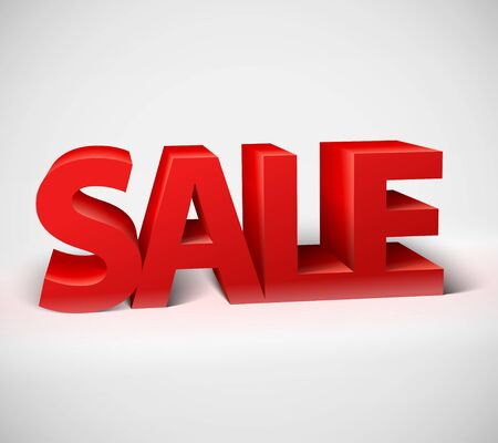 3d red text SALE, vector Vector
