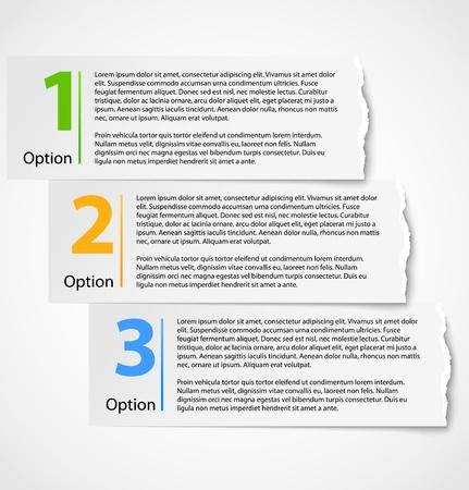 Torn paper progress option background Illustration