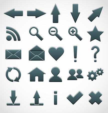 refresh button: Set of icons for web design. Vector illustration