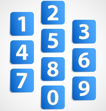 premier: Ten blue 3d banners with numbers