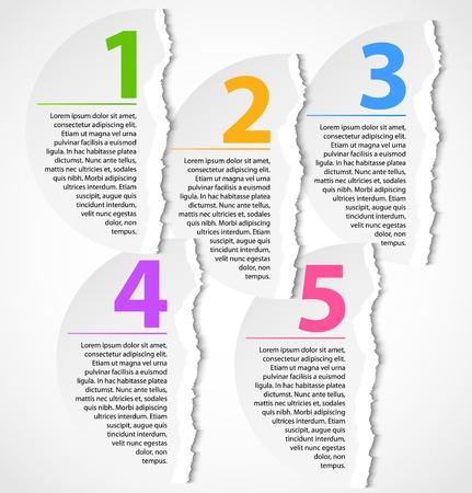 web 2: Torn paper progress option labels Illustration