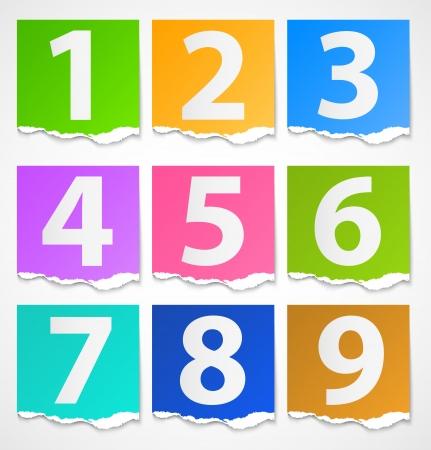 Colorful torn papers numbers Ilustração