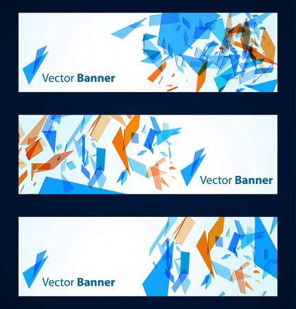 edgy: Abstract banners with blue and orange particles