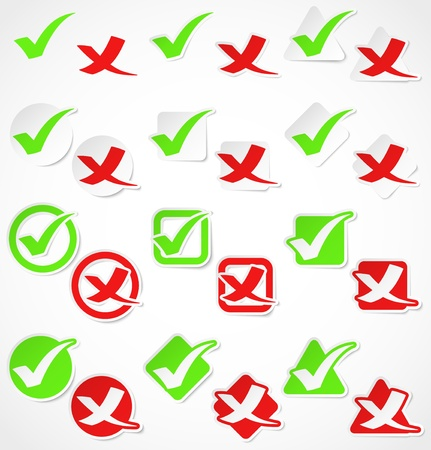 Set of green and red check marks stickers. Vector illustration Vectores