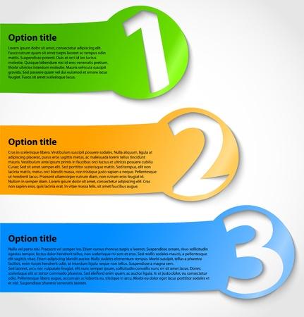 numbered: Carta di opzione adesivi con la descrizione dei progressi o banner numerati