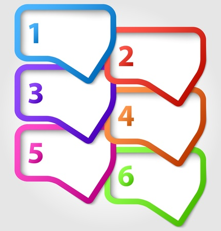 Abstract colorful speech bubbles with numbers Vectores