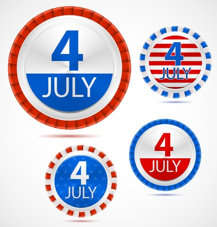 Set of 4th July labels or medals with ribbons. Vector