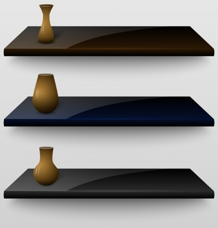 Three 3d shelves with vases Vector