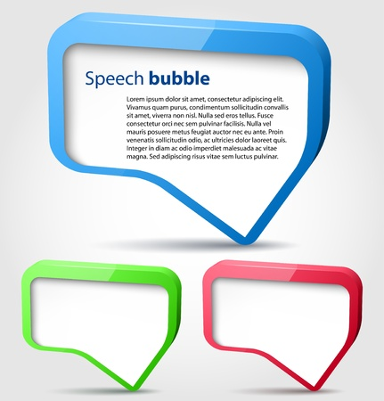 dialog balloon: Colorful glossy 3d bubble speech