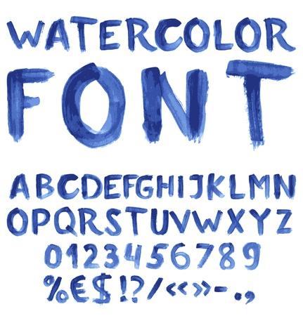 Manuscrite alphabet aquarelle bleue avec des chiffres et des symboles