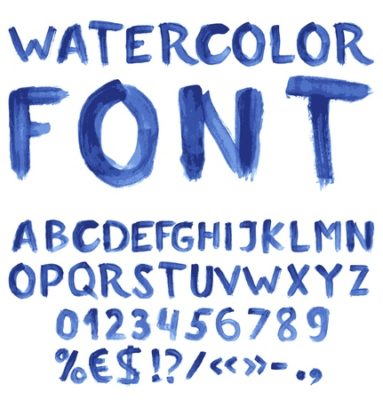 alphabet graffiti: Manuscrite alphabet aquarelle bleue avec des chiffres et des symboles Illustration