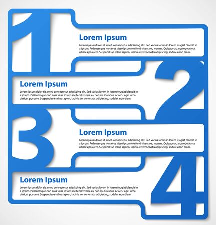 Blue abstract numbered banners or choice headers  Progress option background illustration Illustration