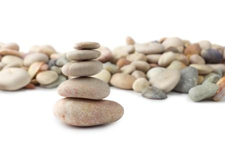 ascend: Five stones in zen balance Stock Photo