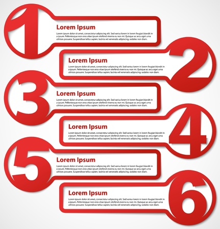 numbered: Red abstract numbered banners or progress option headers  Choice background