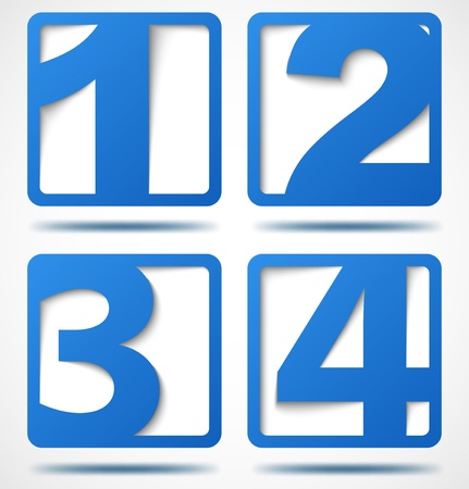 premier: Blue 3d banners with numbers with shadows  Illustration
