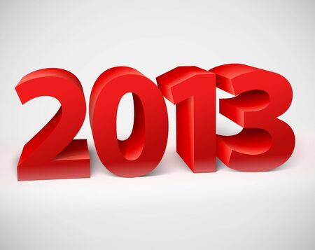 New year 2013 shiny 3d red  Vector illustration Vector