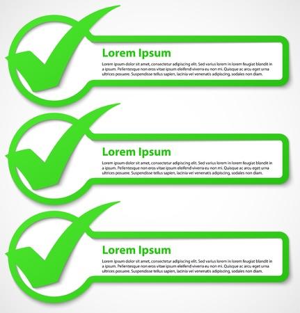 Segno di spunta verde banner o illustrazione vettoriale adesivi