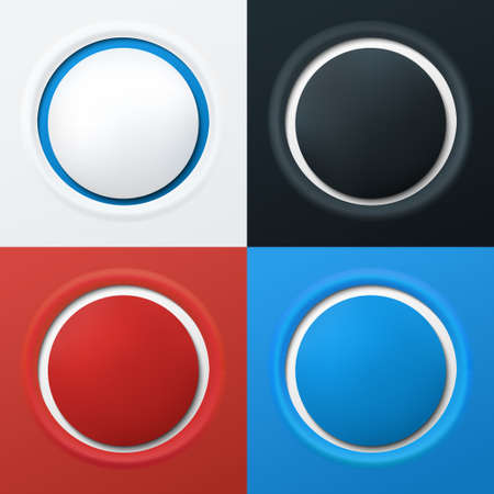 Set of 3d buttons in different colors  Vector illustration Vector