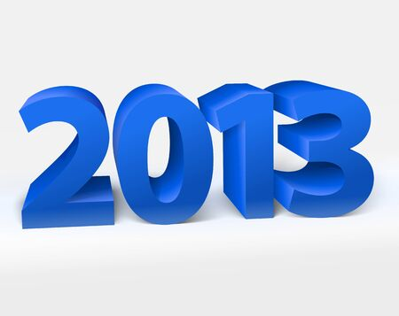New year 2013 shiny 3d blue illustration Vector