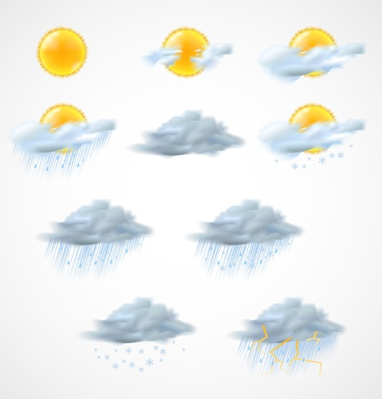 day forecast: High quality weather icons set