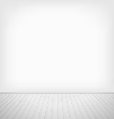 Empty room with white wall and white wooden floor interior  Vector illustration
